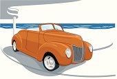 classic car by the beach