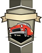 Classic car poster and emblem