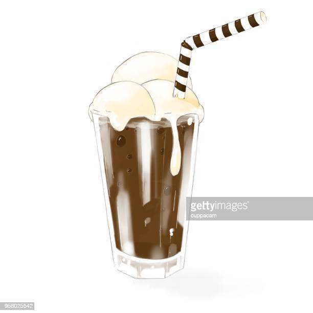 ilustraciones, imágenes clip art, dibujos animados e iconos de stock de malteada de chocolate clásico con crema chantilly y paja - obesidad infantil