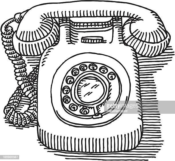 Classic Dial Telephone Drawing