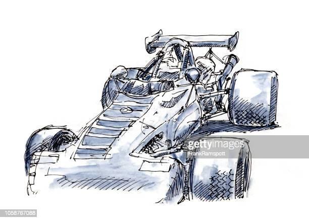 Klassische Formel Rennwagen 1969 Tusche-Zeichnung und Aquarell