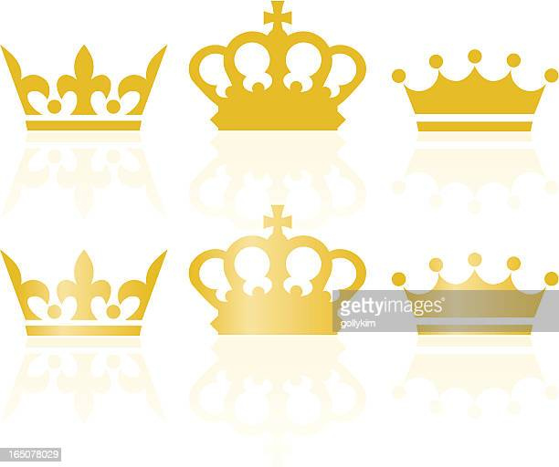 classic royal crowns icons - tiara stock illustrations, clip art, cartoons, & icons