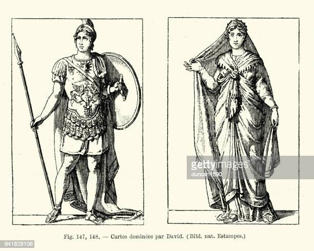 classical costumes, warrior and lady - roman stock illustrations, clip art, cartoons, & icons