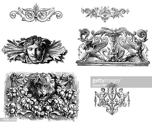 classical design elements - griffin stock illustrations, clip art, cartoons, & icons