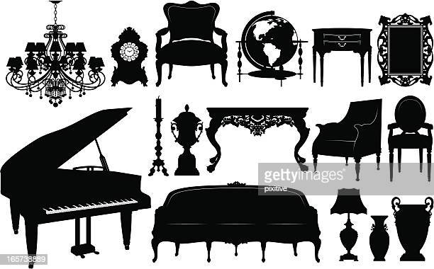classical furniture silhouettes - chaise stock illustrations, clip art, cartoons, & icons