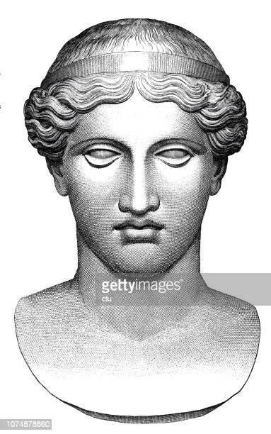 classical greek - bust of hera, wife and sister of zeus - greek statue stock illustrations
