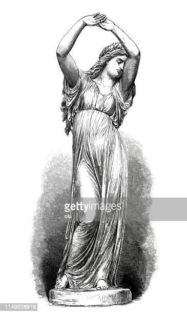 classical greek, goddess cassandra - classical greek style stock illustrations