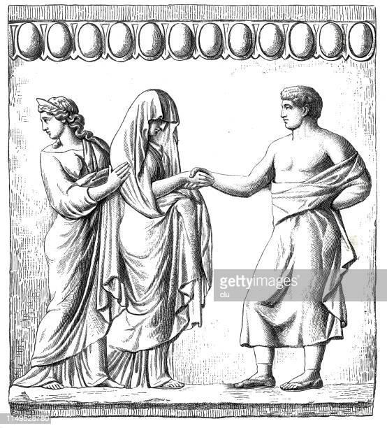 classical greek, grieving thetis - trojan war stock illustrations, clip art, cartoons, & icons