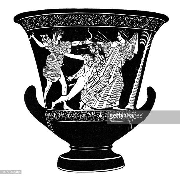 classical greek, jug with red figures, fight of apollo with the giant tityos - classical greek stock illustrations, clip art, cartoons, & icons