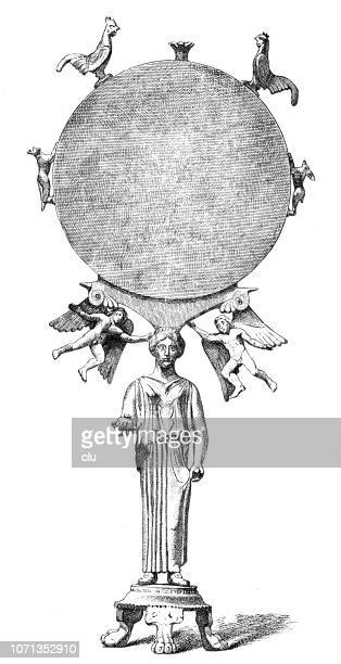 classical greek:  standing mirror made of bronze with polished silver plate, aphrodite statue - aphrodite stock illustrations, clip art, cartoons, & icons
