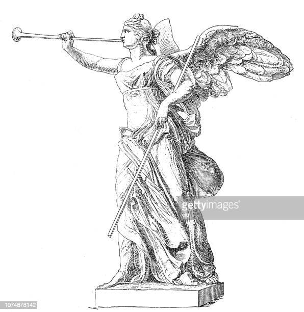 classical greek, statue of nike, goddess of winning - archaeology stock illustrations