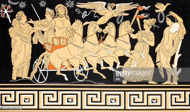 bildbanksillustrationer, clip art samt tecknat material och ikoner med klassisk grekiska, the persephones nedstigning i underjorden, farväl till mor - grekisk gudinna