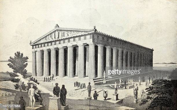 classical greek, the restored parthenon - parthenon athens stock illustrations