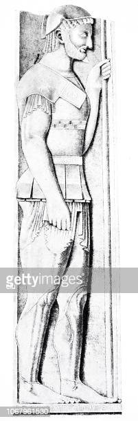 classical greek: tombstone of aristion, time of the persian wars - iranian culture stock illustrations, clip art, cartoons, & icons