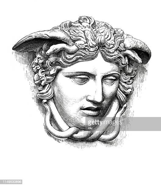 classical greek woman, head of medusa - greek mythology stock illustrations
