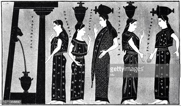 classical greek - women at the well, vase drawing - fountain stock illustrations, clip art, cartoons, & icons