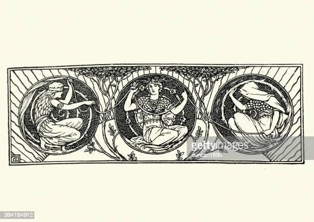 classical mythological scene three fates - roman goddess stock illustrations, clip art, cartoons, & icons