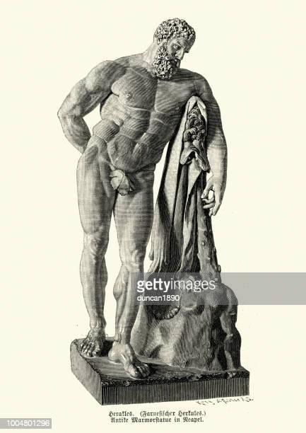 classical mythology, statue of hercules - masculinity stock illustrations, clip art, cartoons, & icons