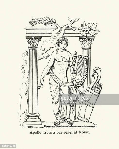 classical mythology - the god apollo - roman god stock illustrations