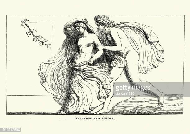 bildbanksillustrationer, clip art samt tecknat material och ikoner med klassisk mytologi, zephyrus och aurora - grekisk gudinna