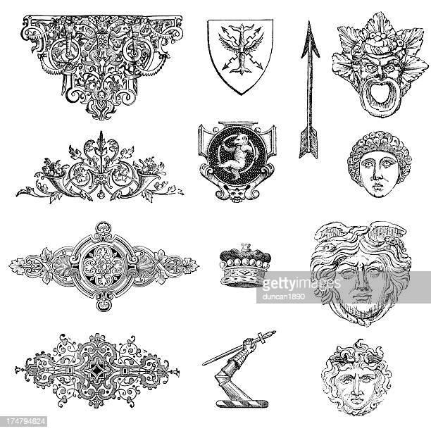 stockillustraties, clipart, cartoons en iconen met classical retro design elements - gekarteld