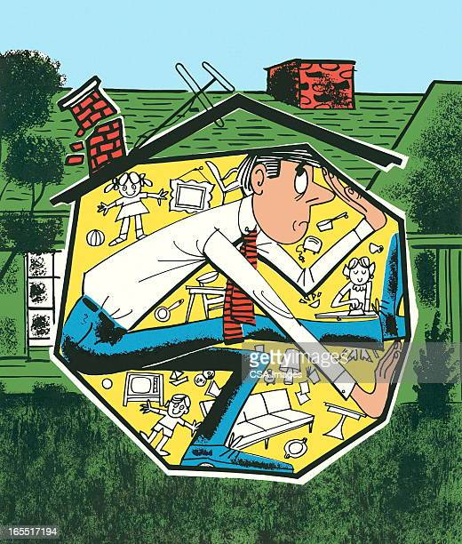 claustrophobic man in a house - phobia stock illustrations, clip art, cartoons, & icons