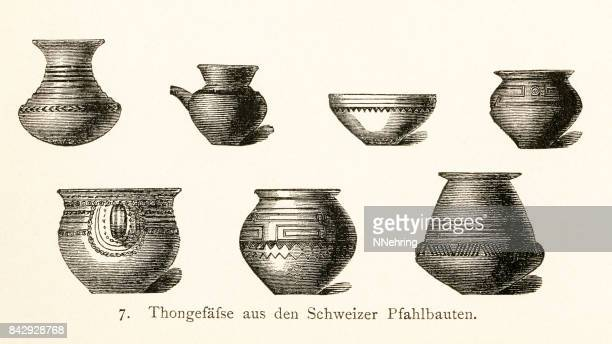 clay pots from the swiss pole dwellings - pottery stock illustrations, clip art, cartoons, & icons