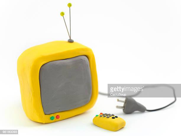 Clay TV with remote control and plug