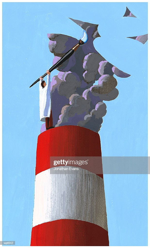 Cleaning up Emissions : Stock Illustration