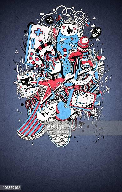 illustrations, cliparts, dessins animés et icônes de clear griffonnage affiche - joystick