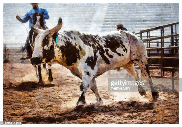 clearing the bull from the rodeo arena - digital photo manipulation - bullfighter stock illustrations, clip art, cartoons, & icons