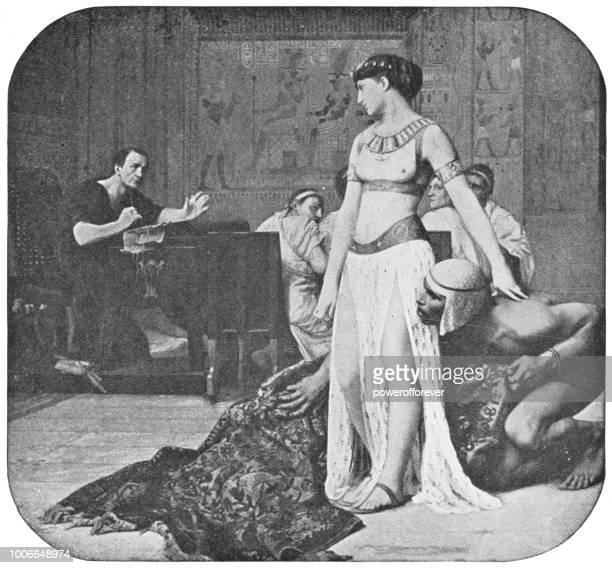 illustrazioni stock, clip art, cartoni animati e icone di tendenza di cleopatra e cesare di jean-léon gérôme - cleopatra