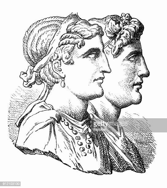 cleopatra and dionysus - greek gods stock illustrations, clip art, cartoons, & icons
