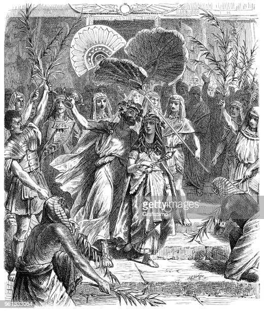 illustrazioni stock, clip art, cartoni animati e icone di tendenza di cleopatra e il triumviro marco antonio come isis e osiride illustrazione 1880 - cleopatra