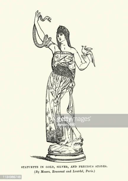illustrazioni stock, clip art, cartoni animati e icone di tendenza di cleopatra in possesso di un serpente, statua ottocentesca - cleopatra