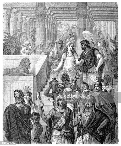illustrazioni stock, clip art, cartoni animati e icone di tendenza di cleopatra vii filoopatore, conosciuta come cleopatra, ultimo faraone dell'antico egitto con marco antonio nel i secolo a.c. - cleopatra