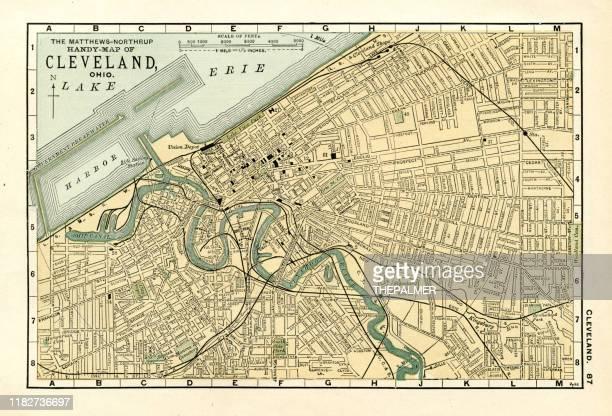cleveland map 1898 - cleveland ohio stock illustrations