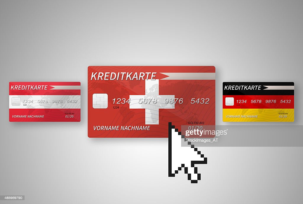 Clicking On A Swiss Credit Card Stock Ilration