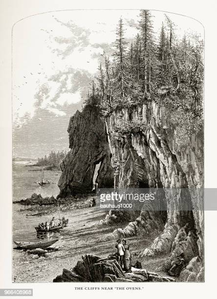 cliffs near the ovens, frenchman's bay, maine, united states, american victorian engraving, 1872 - hancock county stock illustrations, clip art, cartoons, & icons