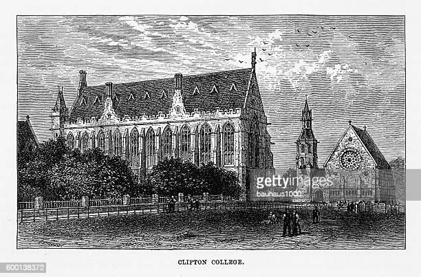 Clifton College in Bristol, England Victorian Engraving, Circa 1840
