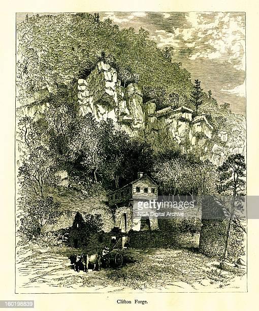 clifton forge, virginia - village stock illustrations