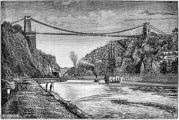ilustraciones, imágenes clip art, dibujos animados e iconos de stock de puente colgante de clifton en bristol, - puente colgante