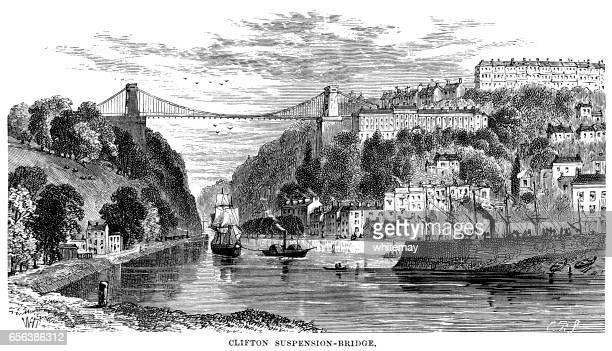 Clifton Suspension Bridge, Bristol (Victorian engraving)
