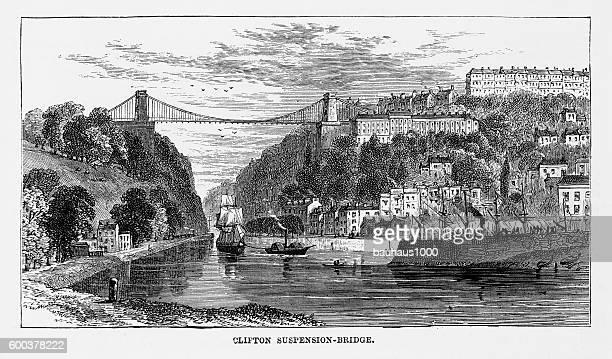 Clifton Suspension Bridge in Bristol, England Victorian Engraving, Circa 1840