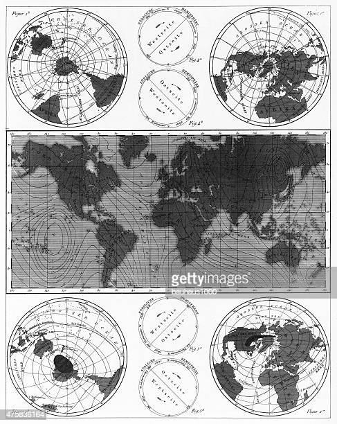 climate and weather charts engraving - tide stock illustrations, clip art, cartoons, & icons