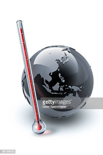 clinical thermometer beside a globe - instrument of measurement stock illustrations