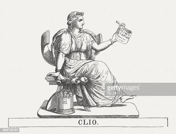 clio, greek muse of history, wood engraving, published in 1878 - artist's model stock illustrations, clip art, cartoons, & icons