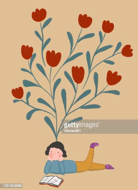clip art of blooming tulips representing imagination of girl reading book - illustration technique stock illustrations