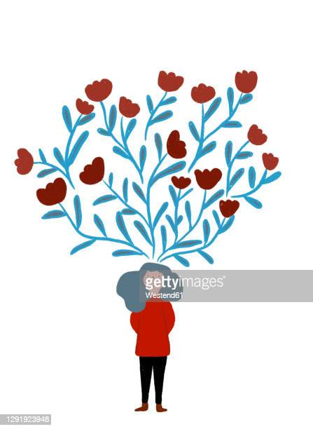 clip art of blooming tulips representing imagination of woman standing with hands behind back - illustration technique stock illustrations