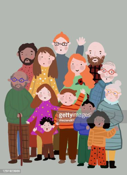 clip art of multi-generation family posing together for photo - large group of people stock illustrations